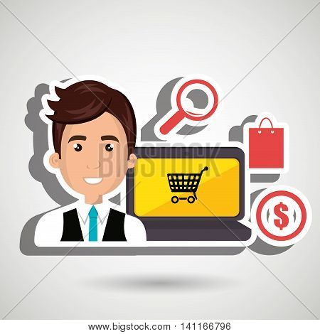 cartoon business man wearing a blue tie next to a laptop, money synbol, shopping bag and a len over a blue background vector illustration