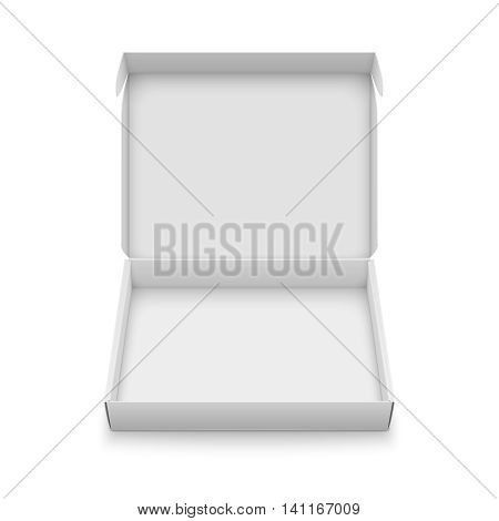 Blank slim cardboard box template with open lid isolated on white background. Front view. Package collection. Vector Illustration.
