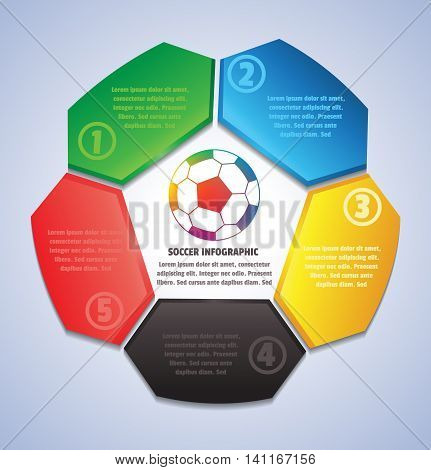 Soccer, 5 color plate Info-graphic, Vector illustration.