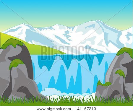 The Beautiful mountain landscape with waterfall.Vector illustration