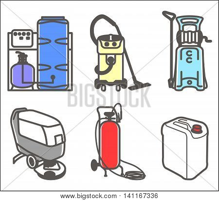 Colorful vector set outline icon of cleaning equipment