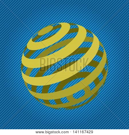 Background abstract. Yellow sphere cut rings. Vector illustration