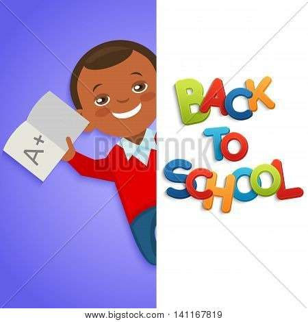 Back to school background with african american schoolboy