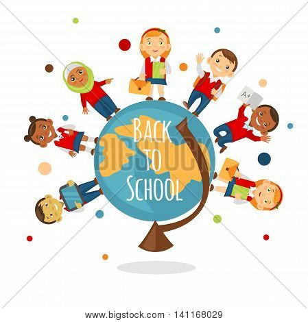 School concept for online learning, education, training. Back to school background with multinational schoolchild.