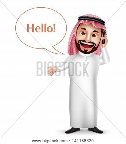 Saudi arab man vector character holding mobile phone calling with hello speech bubbles isolated in white background. Vector illustration.