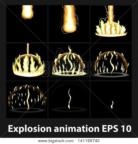 Explosion, cartoon explosion animation frames for game. Sprite sheet on dark background, Lightning animation. Game animation of lightning. Game animation.