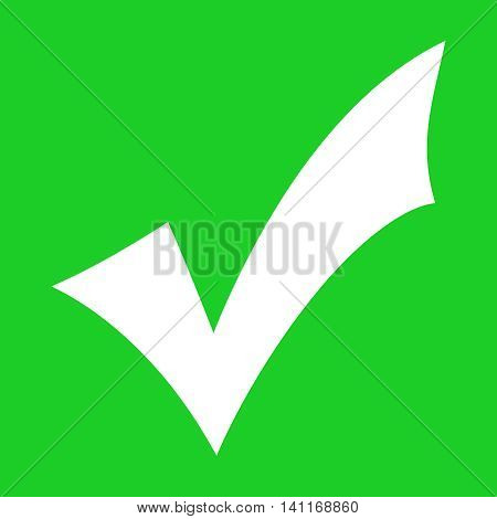 White tick approved sign on green background