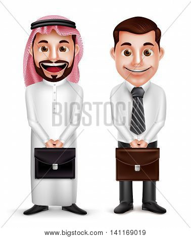 Saudi arab man and a businessman vector characters holding briefcase with a friendly smile isolated in white background. Vector illustration.