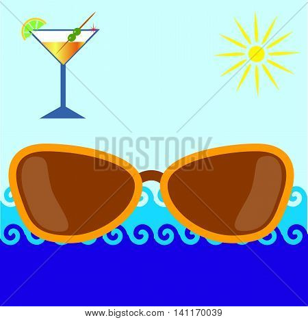 sunglasses on sea background, the sun and a glass of martini