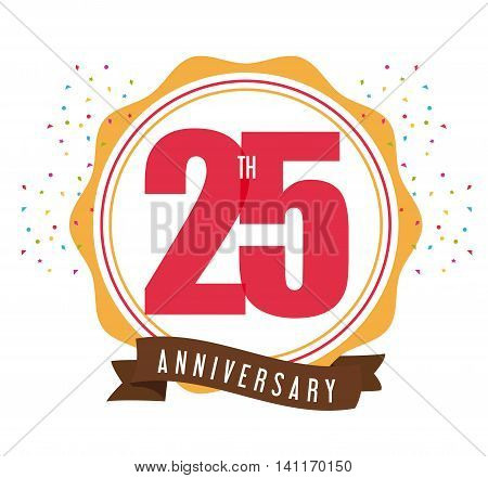 Celebrating Anniversary concept represented by 25 year number icon with ribbon. Colorfull and flat illustration.