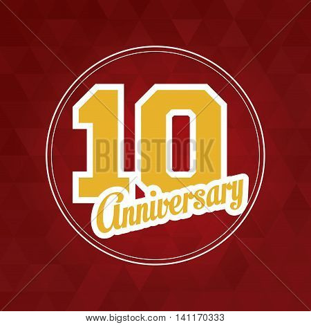 Celebrating Anniversary concept represented by 10 year number icon over seal stamp. Colorfull and polygonal illustration.