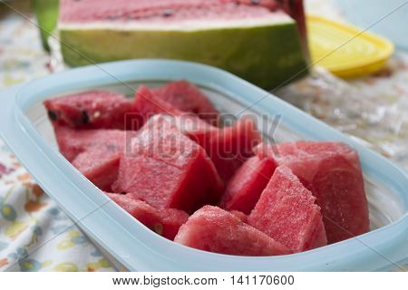 fresh and thirst-quenching watermelon cubes ina bowl