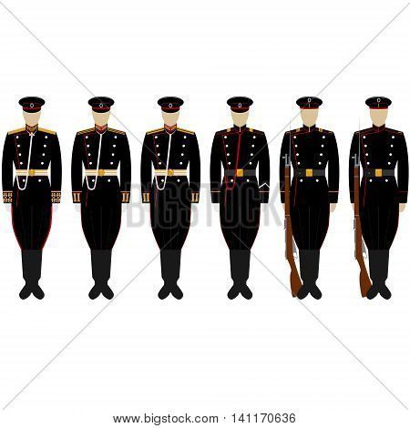 The service uniform of the Corps coastal artillery. The illustration on a white background.