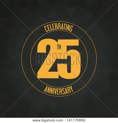 Celebrating Anniversary concept represented by 25 year number icon. Colorfull and polygonal illustration.