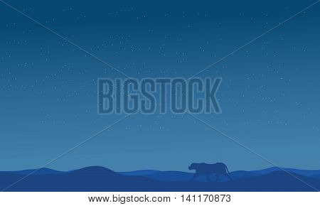Silhouette of lion in fields on blue backgrounds scenery