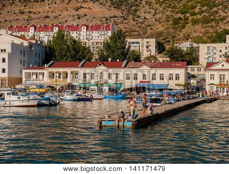 BALAKLAVA CRIMEA. UKRAINE - JULY 25 2010: view from the promenade of the bay and marinas with boats and yachts