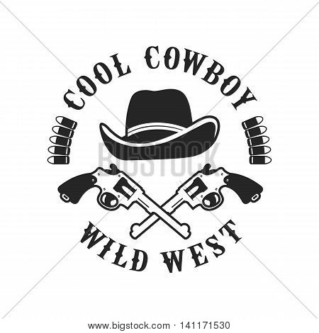 vector emblem conventionally circular shape on a cowboy theme design element isolated on white background