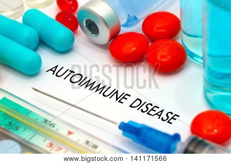 Autoimmune disease. Treatment and prevention of disease. Syringe and vaccine. Medical concept. Selective focus