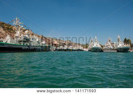 BALAKLAVA CRIMEA. UKRAINE - JULY 25 2010: Ukrainian warships in the Bay Coast Guard