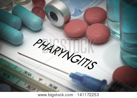 Pharyngitis. Treatment and prevention of disease. Syringe and vaccine. Medical concept. Selective focus