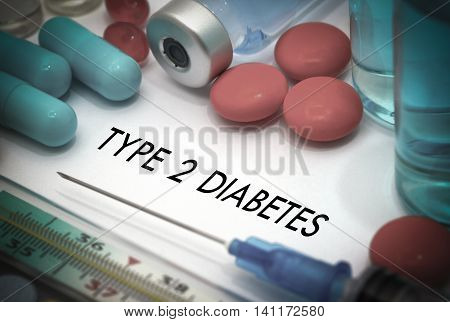 type 2 diabetes. Treatment and prevention of disease. Syringe and vaccine. Medical concept. Selective focus