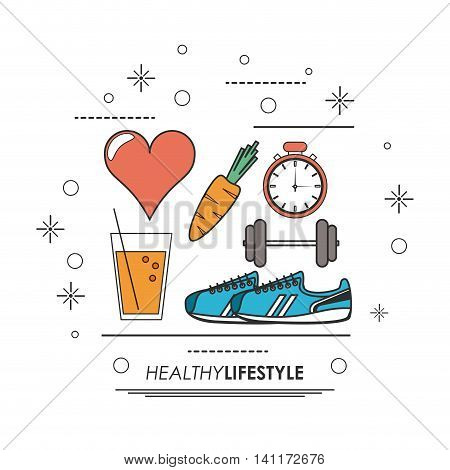Healthy lifestyle concept represented by shoes weight chronometer heart juice carrot icon. Colorfull and flat illustration.