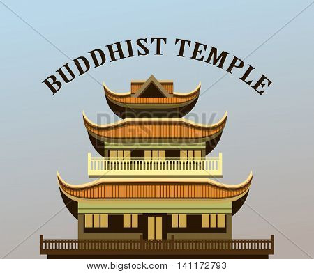 vector illustration of an old Buddhist temple on a purple background