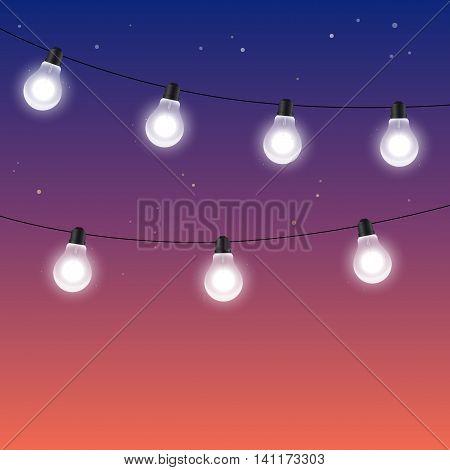 Garlands of light bulbs against a dark night starry sky - vector illustration