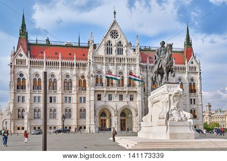 Budapest, Hungary-may 02, 2016: Hungarian Parliament In Budapest. Monument Of Andrassy Gyvla- Prime