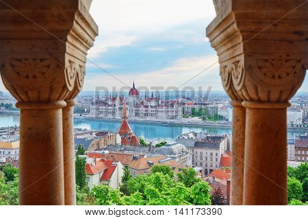 Panorama View On Budapest City From Fisherman Bastion. Hungary.