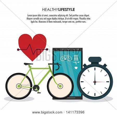 Healthy lifestyle concept represented by bike smartphone chronometer and heart pulse icon. Colorfull and flat illustration.