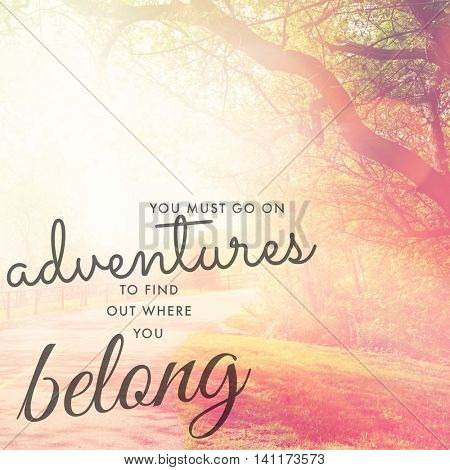 Inspirational Typographic Quote - You must go on adventures to find out where you belong