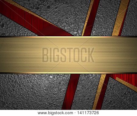 Texture Of Metal With Slits And The Sign For Text. Template For Design. Copy Space For Ad Brochure O