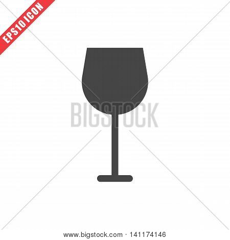 Vector illustration of wineglass icon on white background. Simple solid black kitchenware image