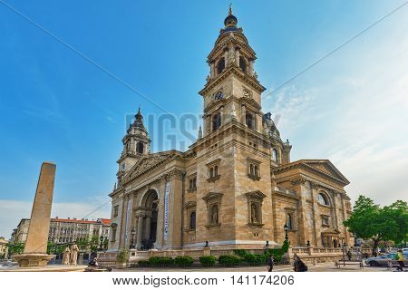 Budapest, Hungary-may 04, 2016: St.stephen Basilica In Budapest At Daytime. Side View From Street Wi