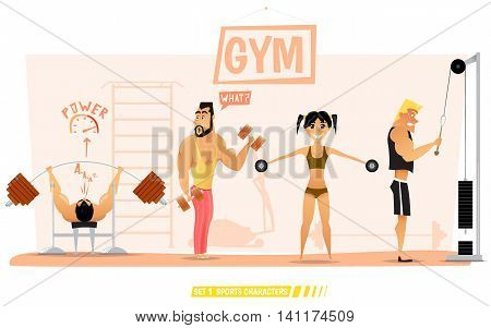 Young people are engaged in body building and fitness in the gym.Collection of sports characters.Vector illustration