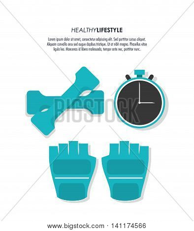 Healthy lifestyle and Fitness concept represented by gloves weight chronometer icon. Colorfull and flat illustration.