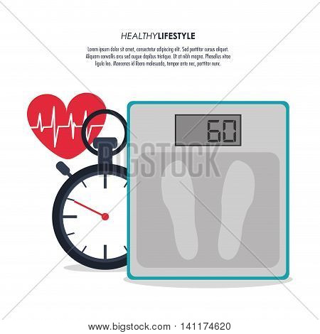 Healthy lifestyle and Fitness concept represented by scale heart and chronometer icon. Colorfull and flat illustration.