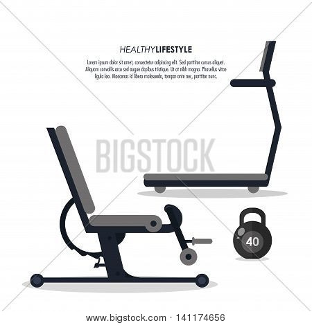 Healthy lifestyle and Fitness concept represented by machine and weight icon. Isolated and flat illustration.
