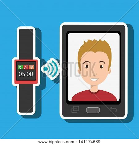 smartphone and watch device with a cartoon man in the screen with media icon over pattern background