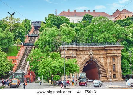 Budapest, Hangary-may 02, 2016: Funicular Royal Castle Of Hungarian Kings And Road Tunnel. Buda Hill