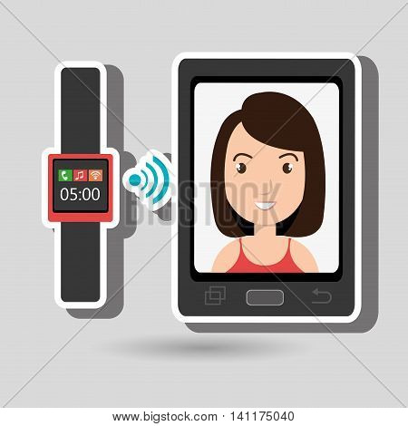 smartphone and watch device with a cartoon woman in the screen with media icon over green background