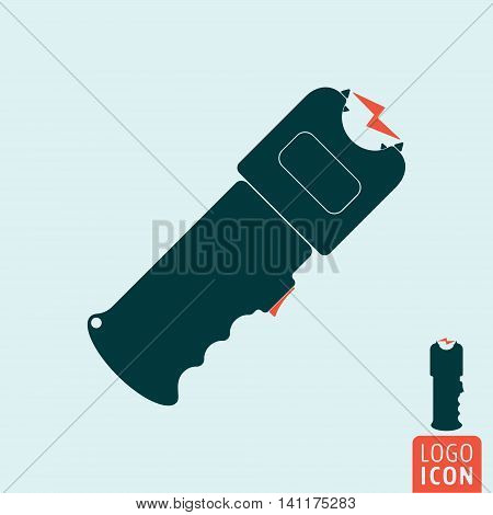 Stun gun icon. Self defense weapon symbol. Electroshocker. Vector illustration