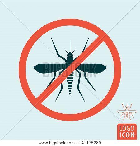 Mosquito icon. Virus Zika or malaria symbol. Prohibited sign. Vector illustration