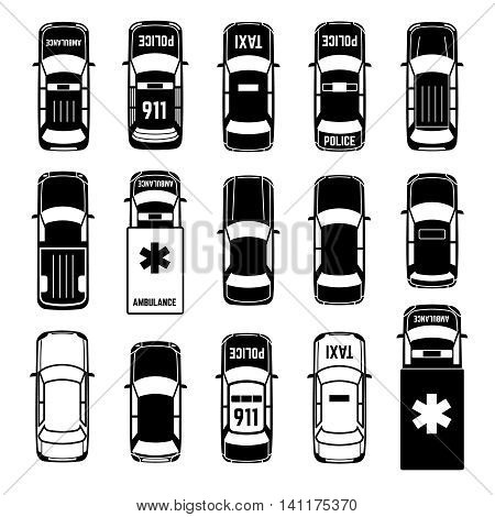 Car top view vehicle automobile transportation vector black icons. Ambulance and police, taxi