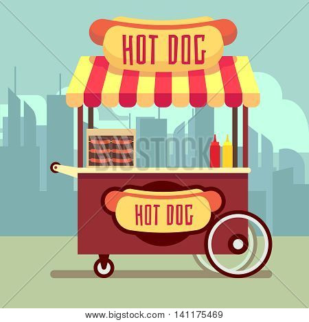 Street food vending cart with hot dogs vector illustration. Urban kiosk for sale hotdogs