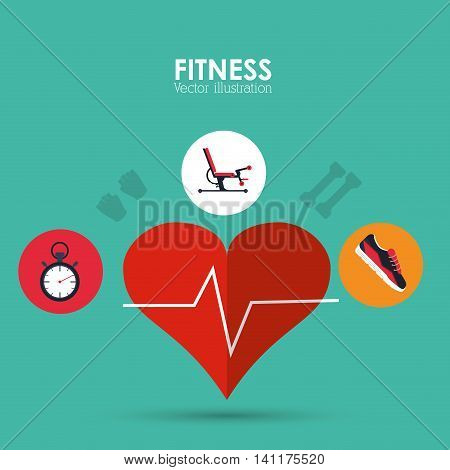Healthy lifestyle and Fitness concept represented by heart pulse machine chronometer and shoes icon. Colorfull and flat illustration.