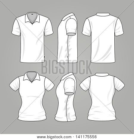 Blank white mens and womens t-shirt outline vector. Template of t-shirt for woman and man, illustration sport mockup t-shirt
