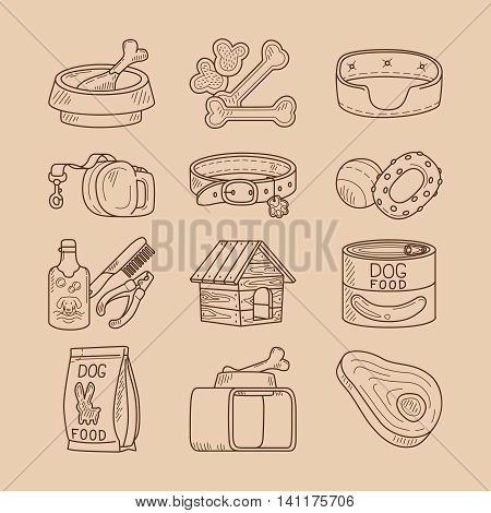 Dog doodle signs. Hand drawn food and toys for dogs vector icons