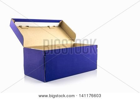 Blue shoe box with clipping path on white background. Paper box for shoes electronic device and other products.
